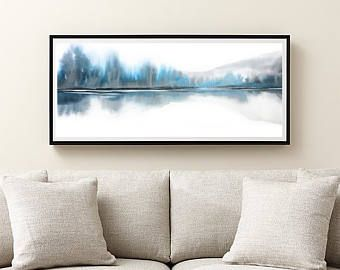 Extra Large Wall Art, Teal Blue, Grey White Art, Horizontal Art Abstract, Narrow Print Landscape Watercolor Painting, Very Large Print,20x42