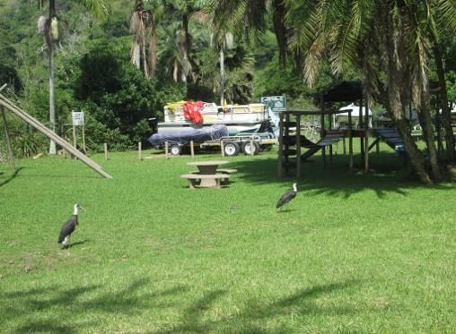 play area and distant view of boat parking