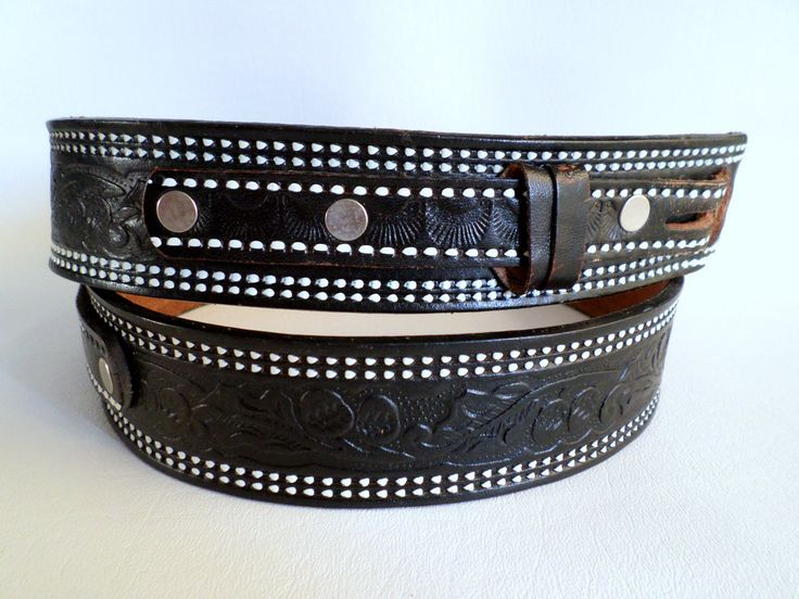 Size 36 91 cm Snap On Black Tooled Leather Belt Strap, Mexican Ranger Style Belt, Boho Southwestern Country Western Wear, ID 497679387 by LaBelleBelts on Etsy