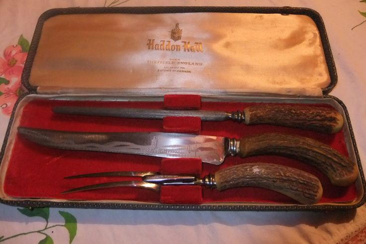 Viintage 3 Piece Staghorn Carving Set in Original Box by ThriftyMidge on Etsy