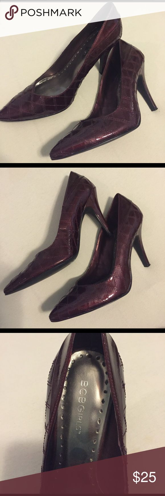 BCBGirls Patent Maroon Pumps BCBGirls Patent Maroon Pumps---never worn--bought for a friend's wedding and went with different outfit. The color is a sort of shimmery maroon/burgundy color. BCBGirls Shoes Heels
