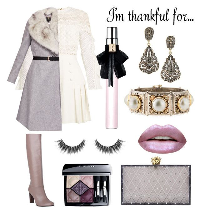"""""""Be Thankful"""" by anca2 on Polyvore featuring L.K.Bennett, self-portrait, Ted Baker, Charlotte Olympia, Heidi Daus, Konstantino, Huda Beauty, Christian Dior and Yves Saint Laurent"""
