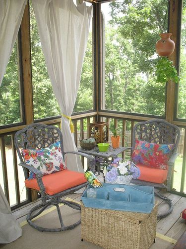 Get your porch dressed to the nines with these simple drop cloth curtains!  www.unskinnyboppy.com #diytutorials  #outdoorliving