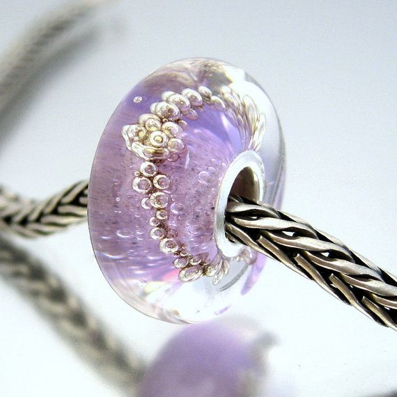 Silver Core Bead  Lavender Bubbles  Fits Troll beads by Suzielaws, £10.50