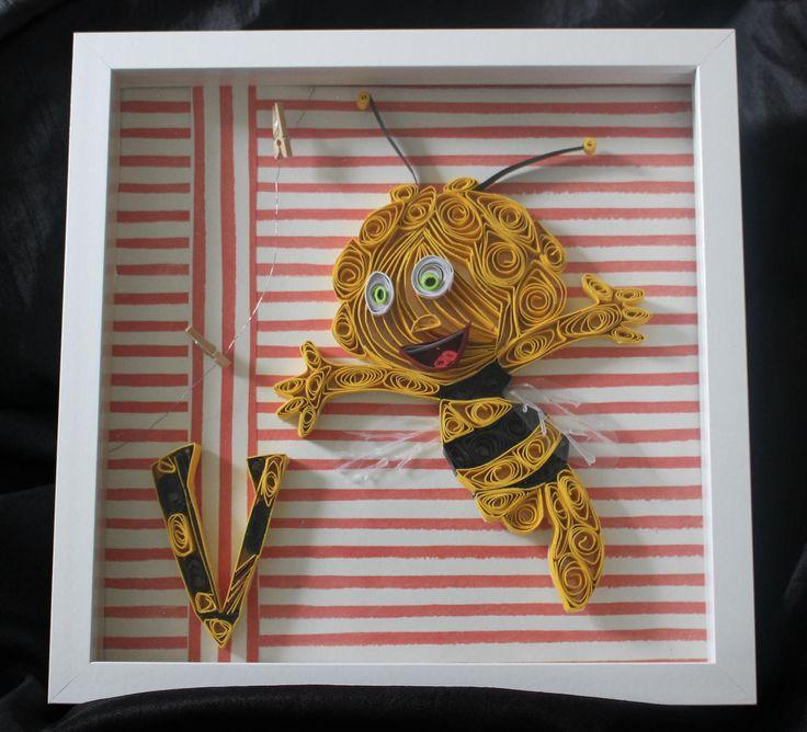 Maya the Bee - Die Biene Maja- Quilled Paper Art - Nursery art - Children's Book - German childrens book - Nursery Letter - Monogrammed art by WindsweptQuilling on Etsy