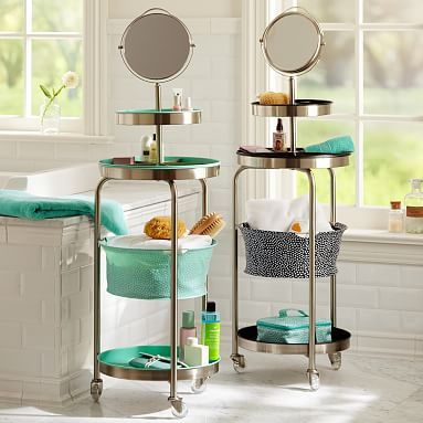 Mini Dot Get-Ready Stand #pbteen A Portable Vanity - I need this for when I get ready in the living room!