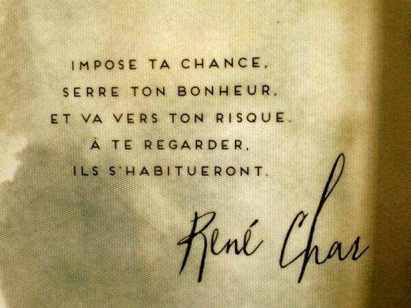 """""""Impose ta chance, serre ton bonheur et va vers ton risque. A te regarder, ils s'habitueront."""" ~ René Char"""
