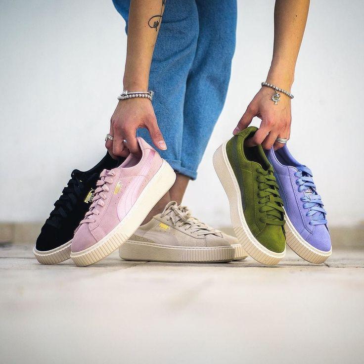 beige puma sneakers suede platform mono satin