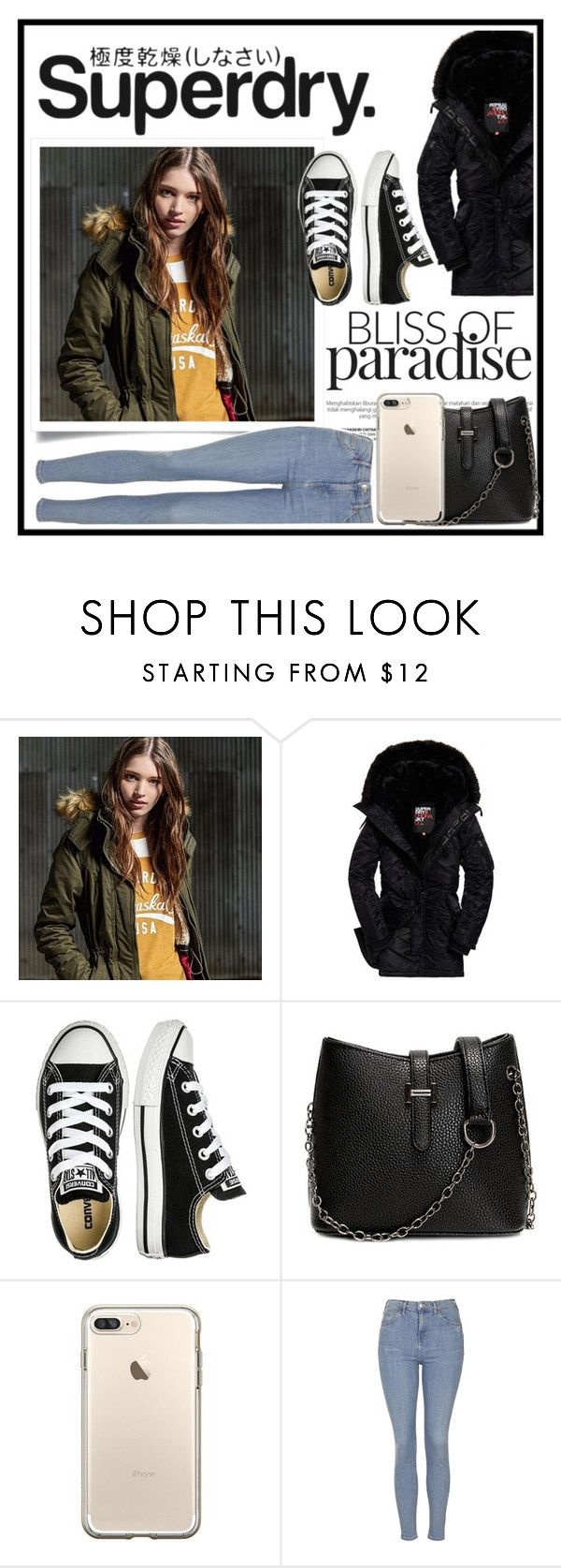 """The Cover Up – Jackets by Superdry"" by rhiannonpsayer on Polyvore featuring Superdry, Converse and Topshop"