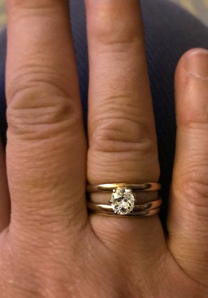 Double Band 14k Yellow Gold Diamond Ring 1 2 Carat Great Engagement Ring Double Band Wedding Ring Yellow Gold Diamond Ring Black Wedding Rings
