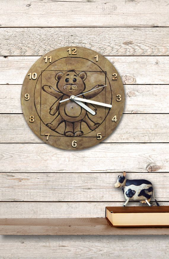 #teddybear, #clock #wallclock #bear #funny #homedecor