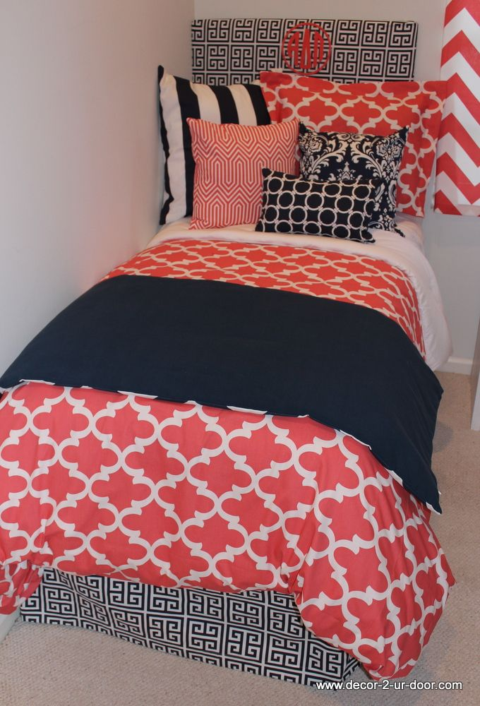 brand new coral quatrefoil dorm bedding add your sorority letters
