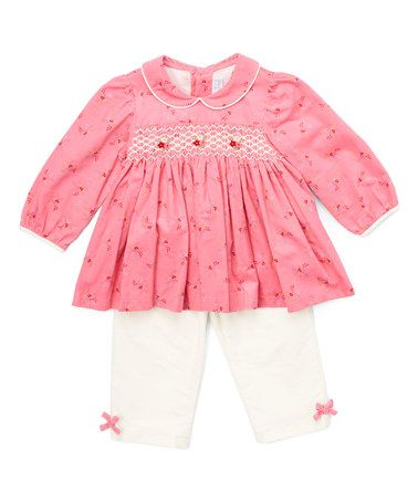 Love this Pink Smocked Top & Ivory Leggings - Infant & Toddler on #zulily! #zulilyfinds