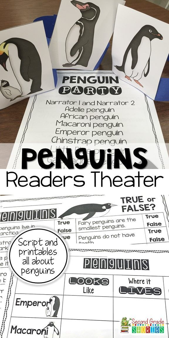 Get students engaged as they learn about penguins with readers theater! Parts for 10 students, recording sheets about penguin species to use with the readers theater information, and headbands/signs to help make your presentation penguin perfect!