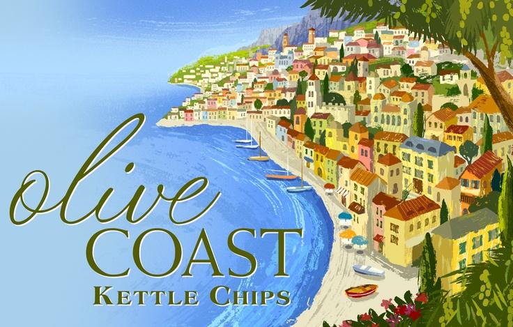 Packaging illustration for Olive Coast chips.