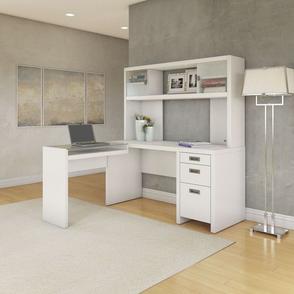 kathy ireland Office New York Skyline L-shaped Desk with Hutch ($868) ❤ - Best 25+ White Desk With Hutch Ideas On Pinterest White Desks
