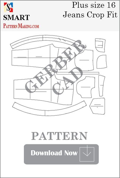 Gerber/CAD Plus Size Crop Fit Jeans Sewing Pattern