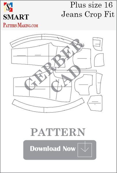 Gerber/CAD Plus Size Crop Fit Jeans Sewing Pattern