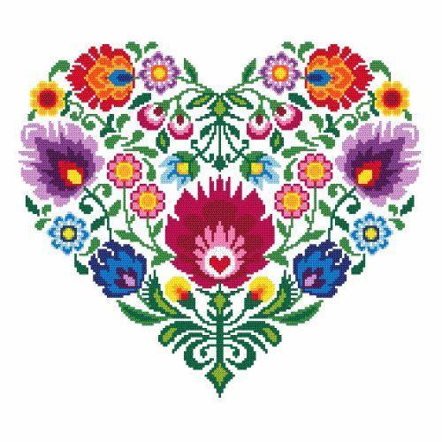 Ethnic heart needlepoint canvas 43 x 43 cm, 13,7 x 13,7 inch