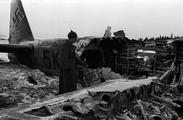 Downed fascist plane, 1942. Kalinin front, winter. WW2, Russia.