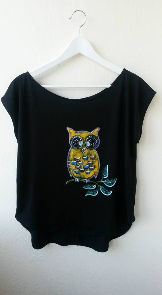Owl painted on t-shirt