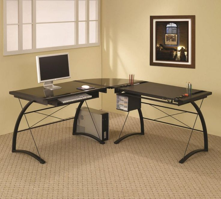 Black Finish Metal Frame With Black Tempered Glass Top Corner Computer Desk.  This L Shaped Computer Table With Drafting Table Features Black Glass Tops,  ...