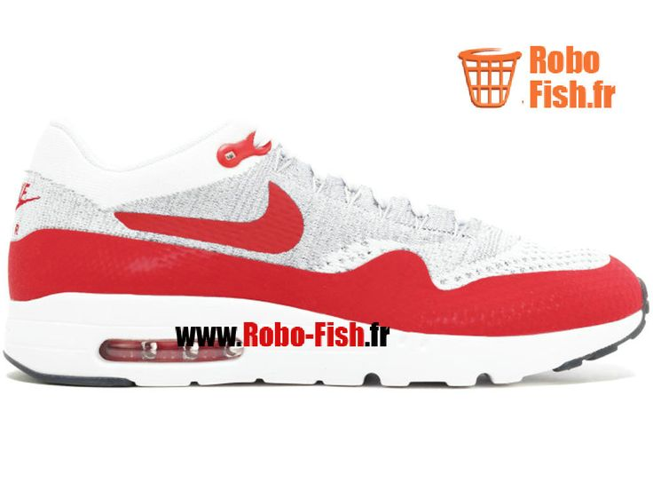 best loved 3f709 332fa ... Nike Air Max 1 Ultra Flyknit - Chaussure Nike Running Pas Cher Pour  Homme Blanc