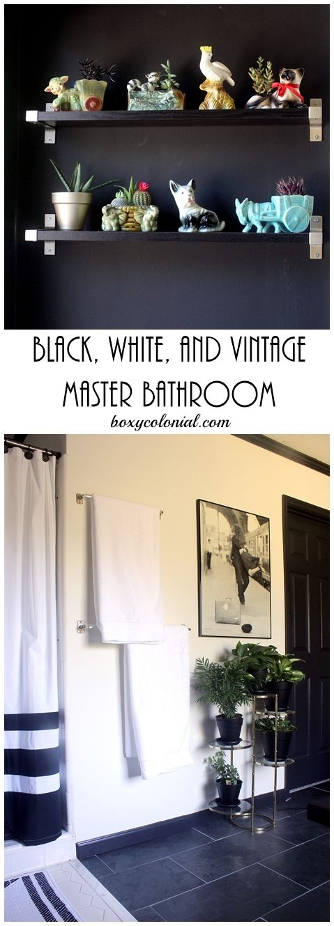 Black, white, and vintage master bathroom makeover at Boxy Colonial