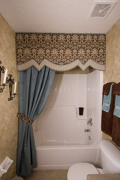 Dressing up the #bathroom with beautiful #valance & #curtain instead of an ordinary shower curtain. Not a budget buster, either! @Custom Window Treatments Interior Decorator Bella Casa Décor ...