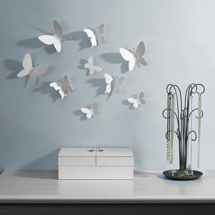 Decor Umbra Wall Decor With Umbra Mariposa Wall Decor And White Color Set Butterflies And Formed With An Antenna Wire And Adhesive That Is Easy To Install The 3D Wall Decoration Or Umbra Wall Decor
