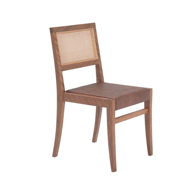 Cadeira Texas - Novo Ambiente (Madeira maciça, compensado multilaminado, tela natural Rattan)
