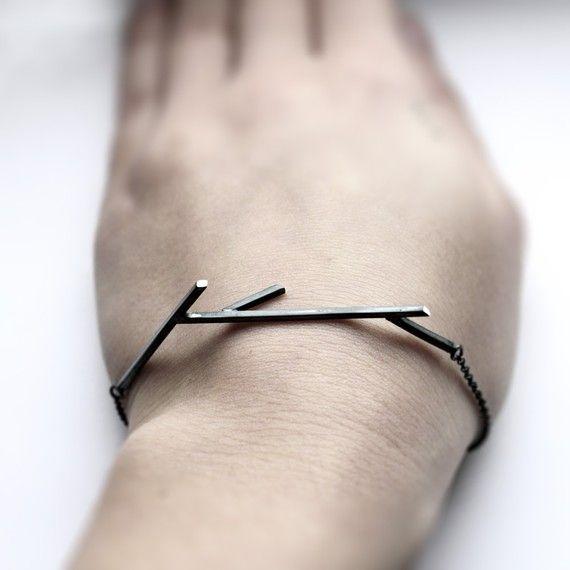 Sticks 02. oxidized sterling silver twig bracelet $72 #accessories #bracelet