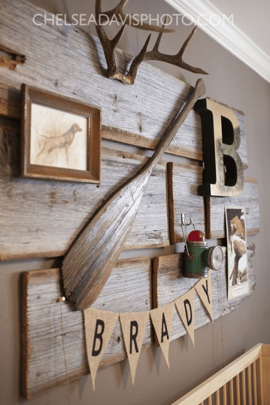 I love this vintage hunting nursery! That antique paddle is incredible!