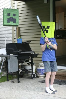 Coastal Sling Mommy: The Minecraft Birthday! Pinata Time! Instead of normal blindfold...