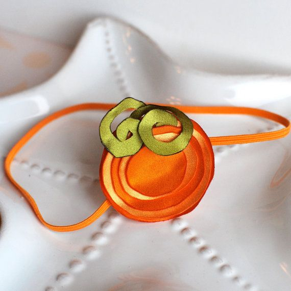 Adorable Satin Pumpkin Headband with Curly Stem by MyLittlePixies, $8.00