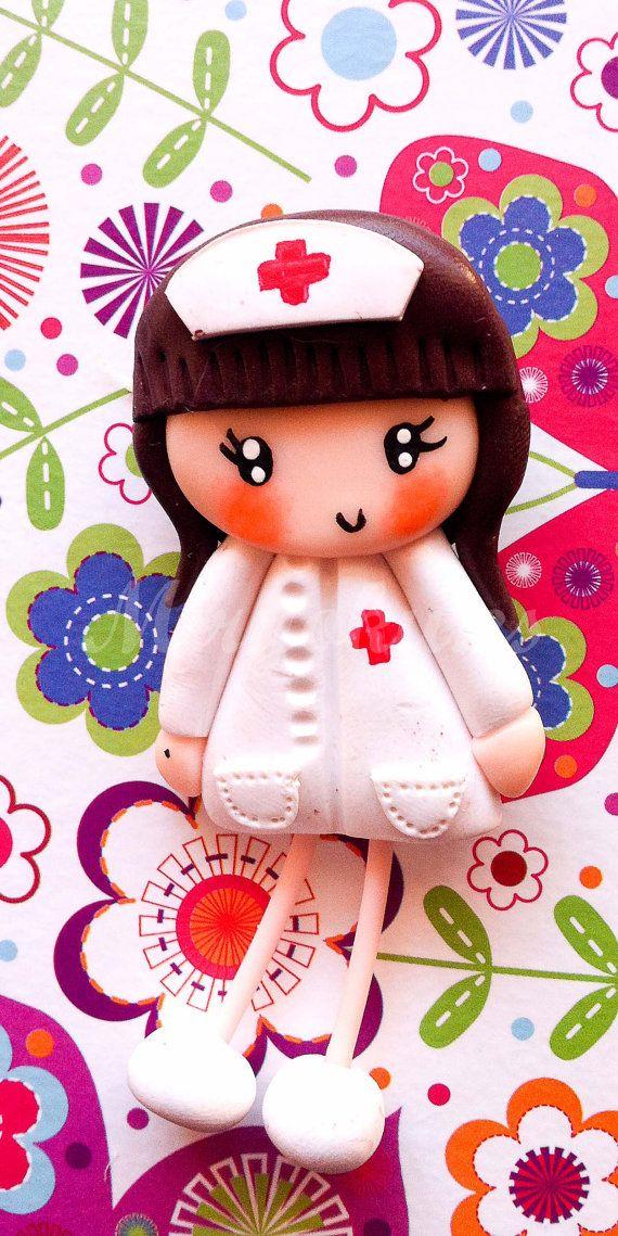 Nurse Polymer clay brooch by MiryokuHandMade on Etsy, €14.00