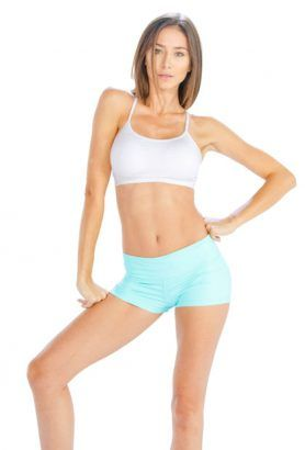 Wholesale White Noodle-Strap Sports Bra With Sky Shorts