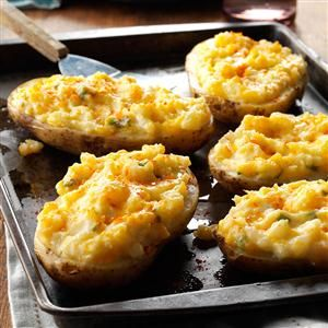Cheesy Stuffed Baked Potatoes Recipe from Taste of Home -- shared by Marge Clark of West Lebanon, Indiana
