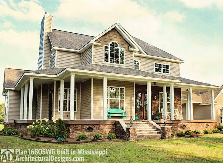 Best 25 country farmhouse exterior ideas on pinterest for Farmhouse plan with wrap around porch