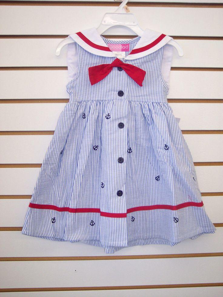Tipegő Girls jó fiú Red Blue Seersucker Sailor Dress Méretek 2T 4T   eBay