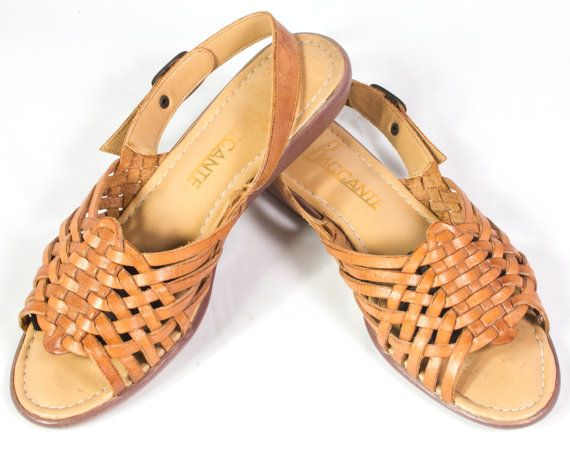 VTG 80's Fawn Brown Leather Huarache Sandals size 6 1/2 Womens Slingback Platform Strappy Woven Wedge Sandals