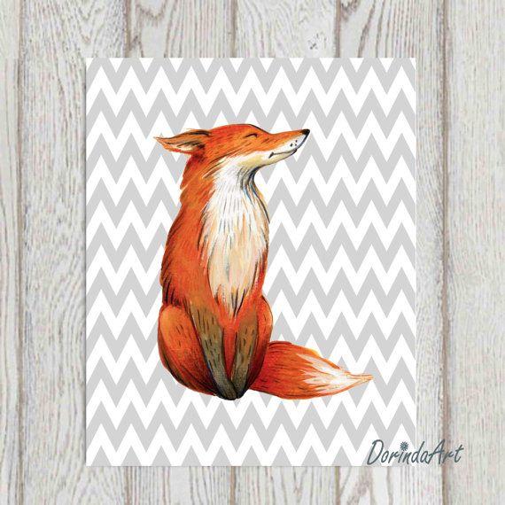Fox print Gray Chevron Fox nursery wall art Woodland by DorindaArt