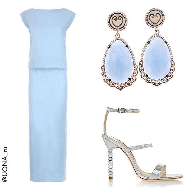 #UONA_look если вы еще не выбрали вечерний наряд, обратите внимание на этот☝️ Нежный небесно-голубой образ❄️ Здорово, что после вечеринки вы сможете носить это платье в повседневном жизни - с ботинками, сапогами и даже уггами Отлично сидит, как на стройных, так и на аппетитных девушках. Цена платья UONA: 13900₽  Размеры: S,M,L Серьги #ilovebijouxshop 11400₽ Босоножки #sophiawebster  Какой образ по тегу #вечерняя_коллекция_UONA вам понравился больше всего?