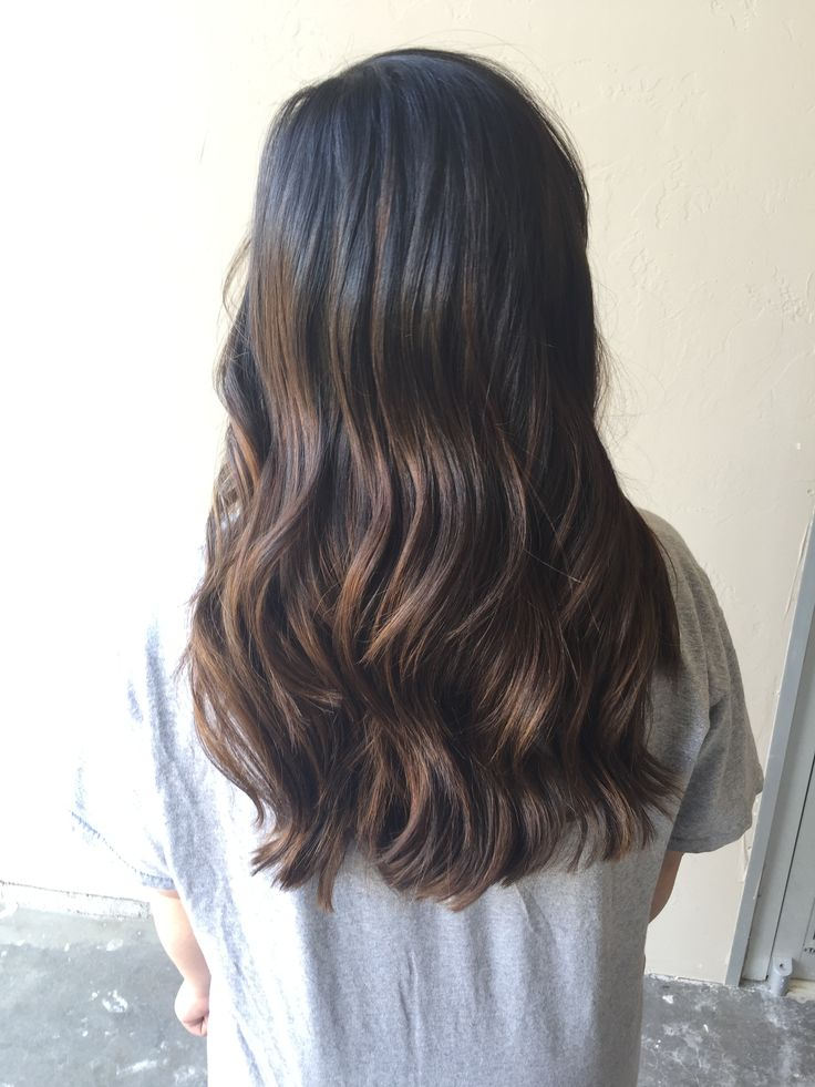 Dark brown neutral balayage. Hair by Jamie Burrows Scissortale salon.   Goldwell, healthy, long layers, 7na, blondor freelights
