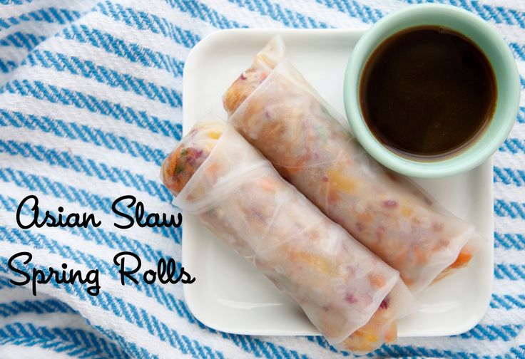 These Asian Slaw Spring Rolls are filled with a crunchy vegetarian slaw and irresistible dipping sauce.