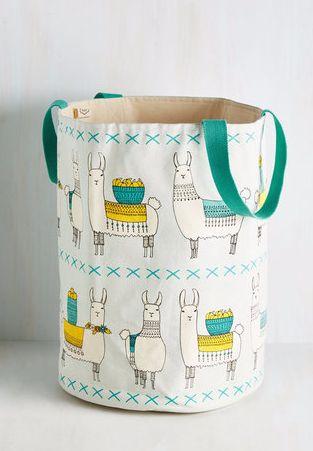 Llama print laundry basket. I dunno, those baskets of fruit say kitchen storage to me!