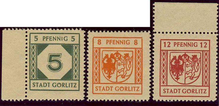 """German Local Issue, Görlitz 1945, 5 Pfg., 8 Pfg. und 12 Pfg., postfrisch Pracht, dabei die 12 Pfg. mit Spargummi """"kleine Kreise"""" (postfr., Mi.-Nr.5x,7x,8y/Mi.EUR 71,--). Price Estimate (8/2016): 15 EUR."""