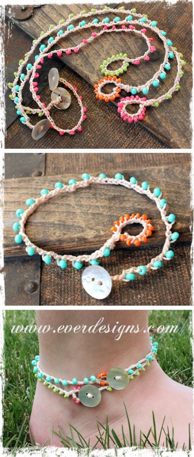 For inspiration Surf's up! Crocheted Anklets/Bracelets (set of 3). Perfect for summer! Love the color contrast between the beads and the loop. #bohemian #layered #jewelry #surfer #beach