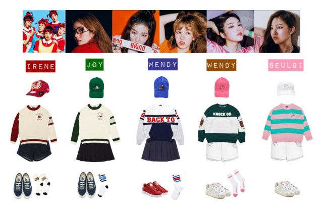 RED VELVET - DUMB DUMB💚♡️💛💜💙 by vvvan99 on Polyvore featuring polyvore fashion style sass & bide Topshop Jacquemus Vans adidas Originals New Era Topman clothing