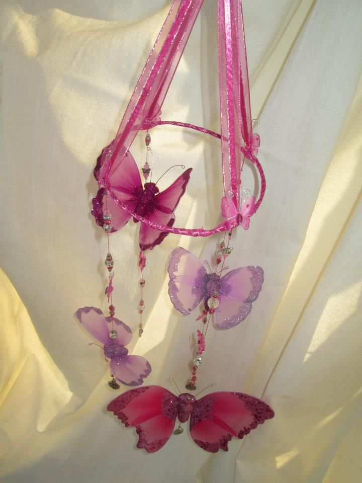 Butterfly Mobile made from butterflies, glass beads, ribbons...  Baby Mobile https://www.facebook.com/BeautifulFusionSA
